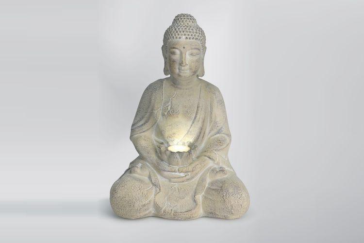 Boeddhabeeld met solar lamp (47 cm hoog)