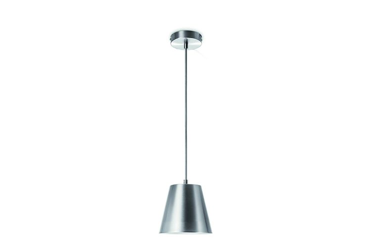 Zilverkleurige hanglamp van mat staal (� 16 cm)