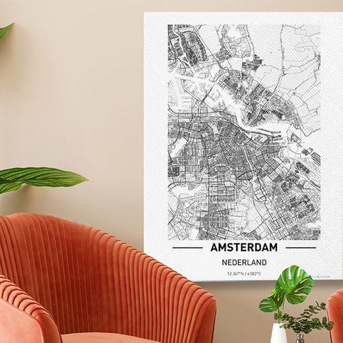 Nederlandse stad op canvas