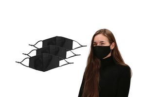 Set van 3 wasbare mondkapjes (kleur: zwart)