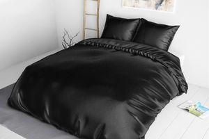 Zwart satijnen dekbedovertrek (200 x 220 cm)