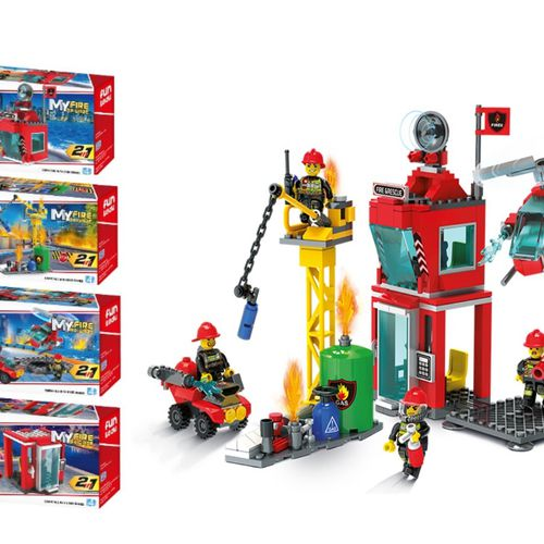 Twee-in-één brandweerbrigade set van Blocki-bouwstenen