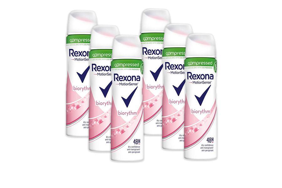 6 flessen Rexona Women Biorythm deodorant (75 ml)