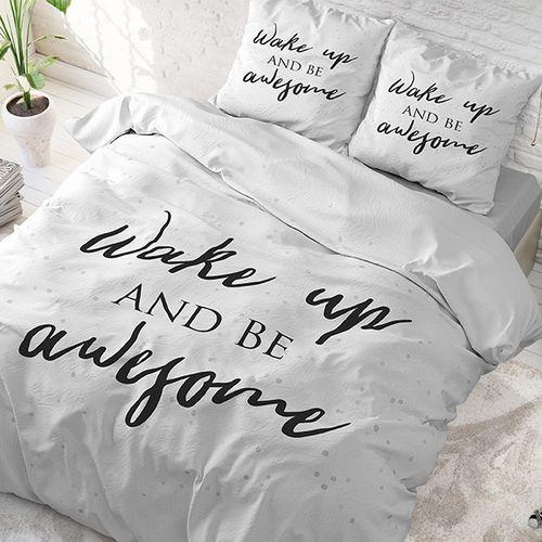 Katoenen dekbedovertrek Wake Up (240 x 220 cm)