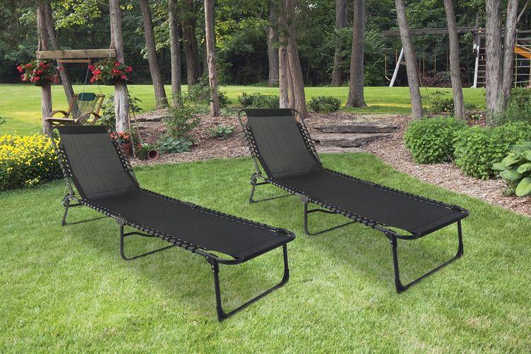 2 opvouwbare ligstoelen van Outfit (kleur: zwart)