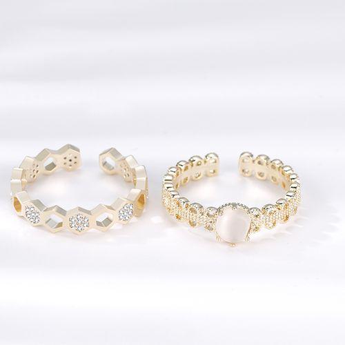 Set van 2 multimaat ringen met zirkonia's