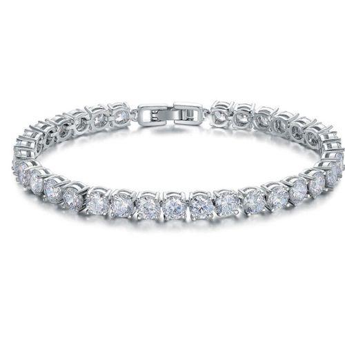 Zilverkleurige armband met zirkonia's