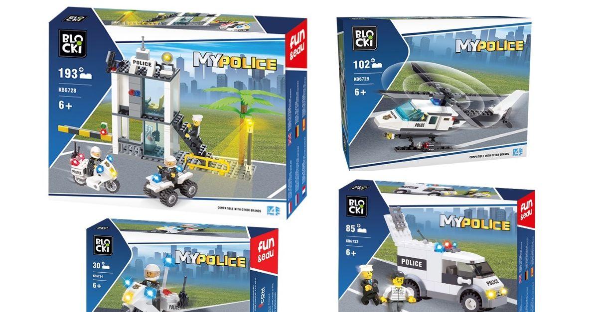 4 véhicules de police Blocki - Compatible avec les Lego
