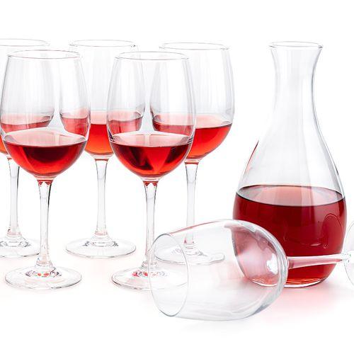 Karaf met 6 ros� wijnglazen (serie: Elegance)