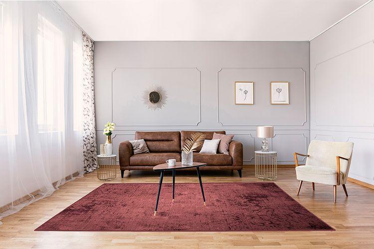 Korting Donkerrood vloerkleed (160 x 230 cm)