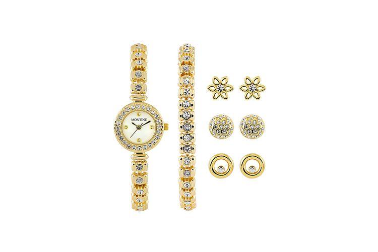 Set van armband, horloge en 3 paar oorbellen