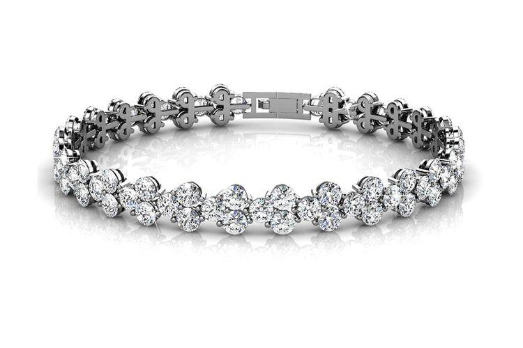 Witgoud vergulde armband Joyfull met zirkonia diamantjes