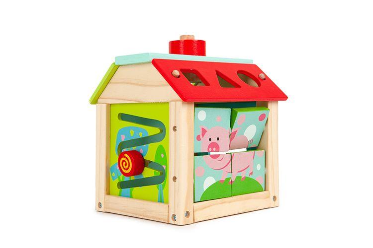 Houten huis met speelblokken van ECOTOYS