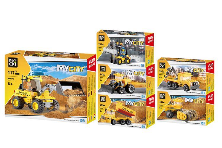 6 bouwvoertuigen van Blocki-bouwstenen