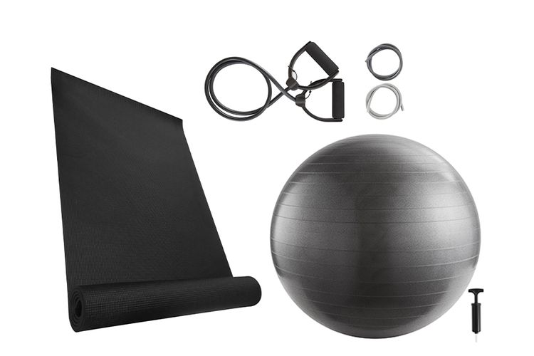 Korting Yoga starterspakket yogamat, yogabal en elastieken