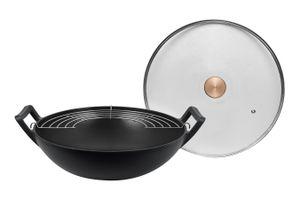Gietijzeren wokpan met deksel van Buccan (Ø 36 cm)