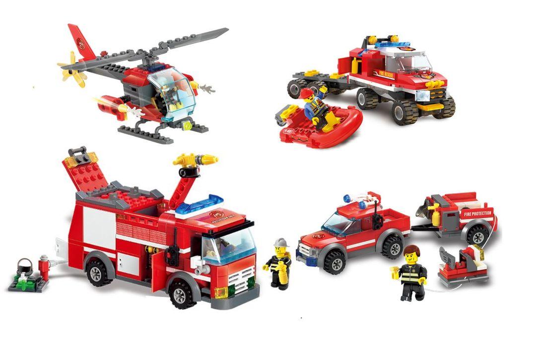5 brandweervoertuigen van Blocki-bouwstenen