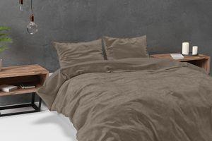 Taupe velvet dekbedovertrek (200 x 220 cm)