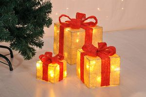 3 decoratieve cadeautjes met led-verlichting
