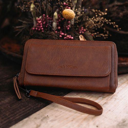 Cognac portemonnee met telefoonvak van Jack Milles
