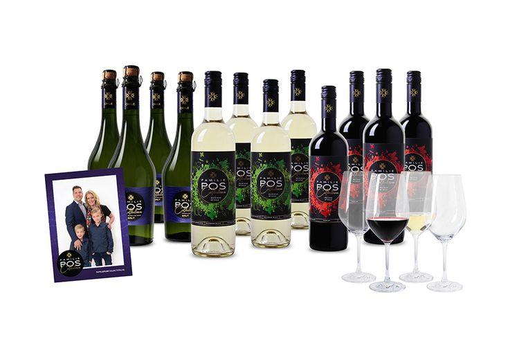 Familie POS Collection: 12 flessen wijn incl. 4 glazen