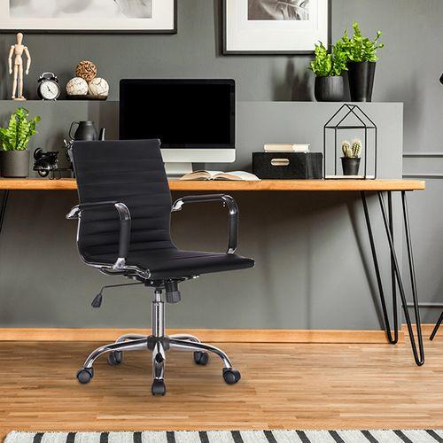Zwarte kunstleren bureaustoel