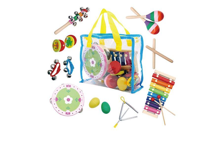 14 speelgoed-muziekinstrumenten met opbergtas