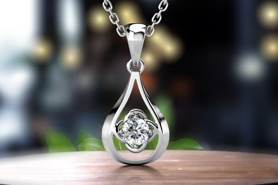 Zilverkleurige ketting met Swarovski-element van Yolora
