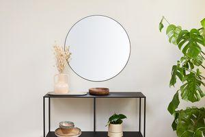 Ronde spiegel met zwarte rand  (ø 70 cm)