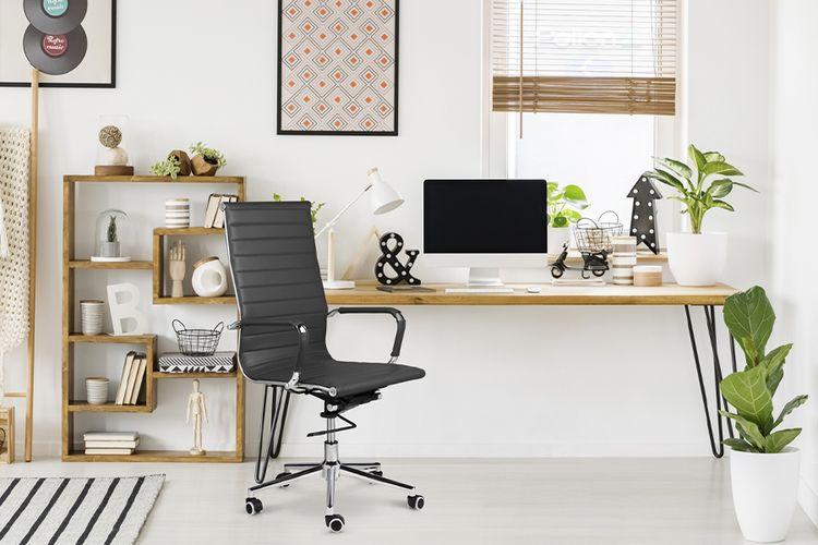 Korting Donkergrijze bureaustoel van PU leer (model Brisbane)