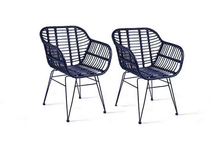 Korting Set van 2 rattan stoelen