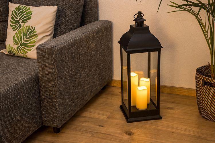 Korting Windlicht met 3 led lampkaarsen (70 cm hoog)