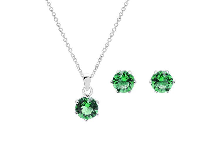 Ketting en oorbellen met groene Swarovski-elementen