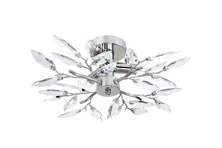 Plafondlamp met kristallen in bladvorm (model: Mercury)