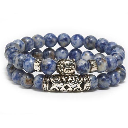 Blauwe kralenarmband