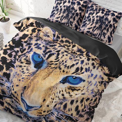 Katoenen dekbedovertrek Cheetah in taupe (200 x 220 cm)