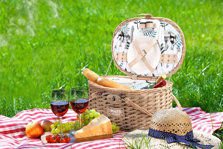 2 persoons ronde picknickmand met koelvak en servies