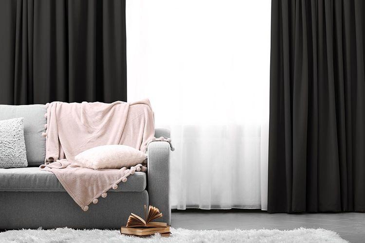 Gordijn Badkamer 9 : Gordijnen grijs haken 2 grijze gordijnen met haken van lifa living
