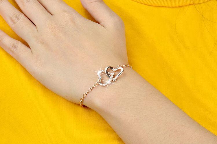 Armband met 2 hartjes (model: Violetta)