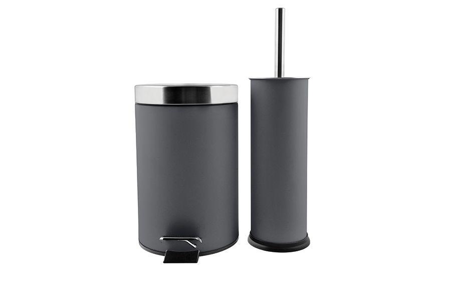 Antraciete wc-borstel en pedaalemmer (3 liter)