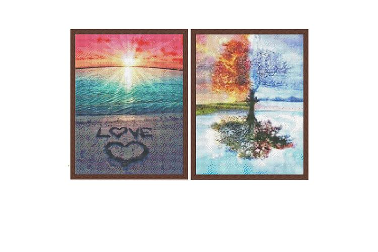 SlaJeSlag 2 diamond painting-sets: boom en zonsondergang