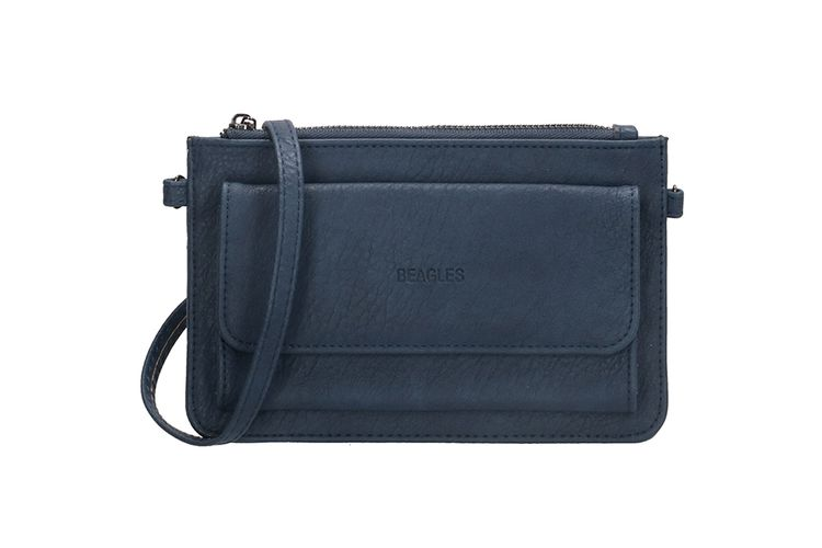 2-in-1 blauwe schoudertas en portemonnee