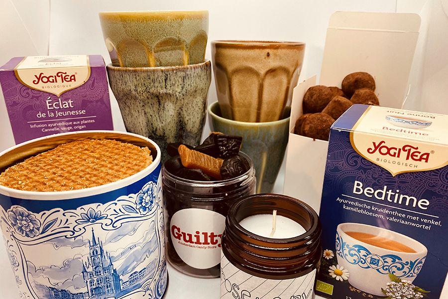 Verwenpakket met chocolade en thee