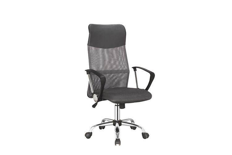 Grijze bureaustoel met nekkussen