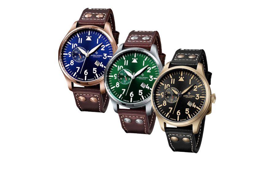 Herenhorloge van Alpha Sierra (keuze uit 3 kleuren)