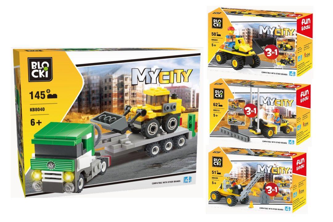 4 bouwvoertuigen van Blocki-bouwstenen