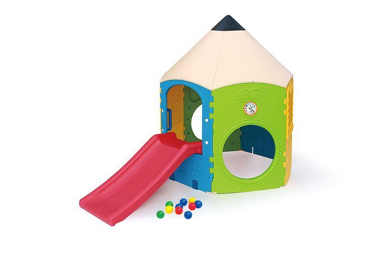 Speelhuisje met glijbaan en 10 speelballen (145 cm)