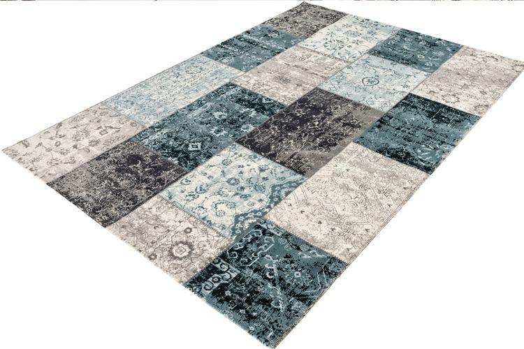 Vloerkleed Blauw Grijs : Vintage vloerkleed grijs blauw patchwork vloerkleed in grijs en