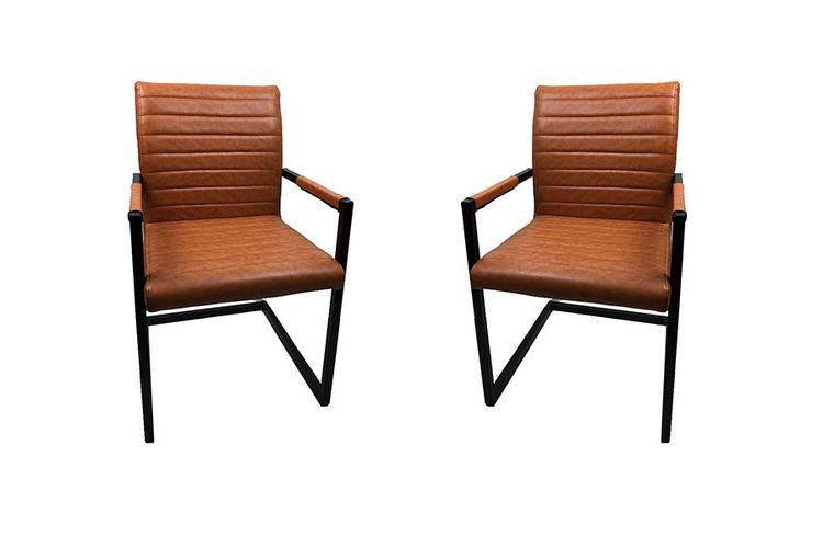 Glasgow stoelen cognac 2 stoelen van glasgow cognac for Eettafel stoelen cognac